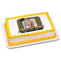 Graduation - Congrats Grad Gold Squares Photo Cake Frame